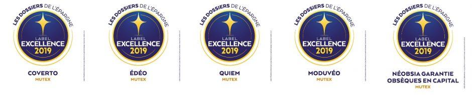 Liste des des 5 labels d'excellence 2019 pour les produits Mutex